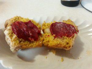 cran sauce on muffin