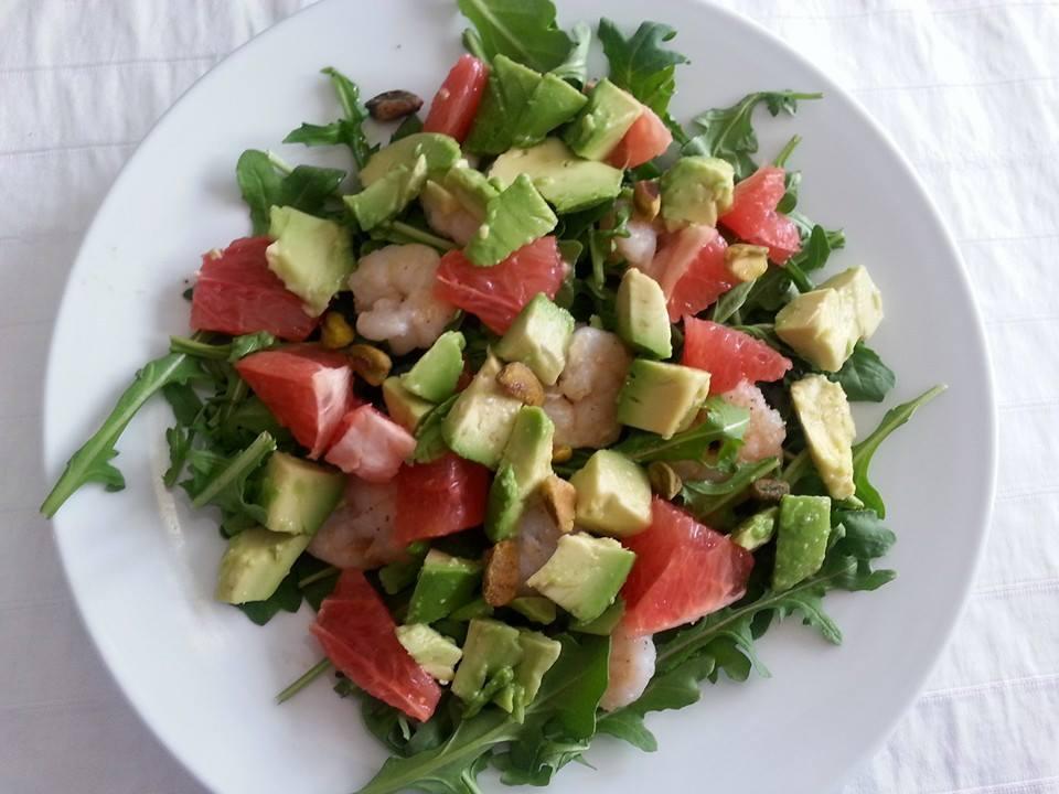 shrimp avocado and grapefruit salad