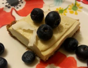 Raw Lemon Cheesecake with Lemon Custard Topping