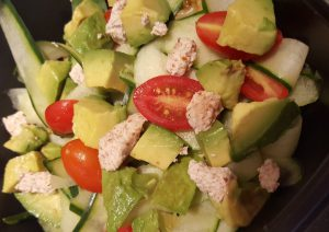 Cucumber and Tomato Salad with Almond Feta and Avocado