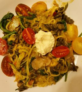 Zoodle & Rotini Saute with Red Pepper Sauce
