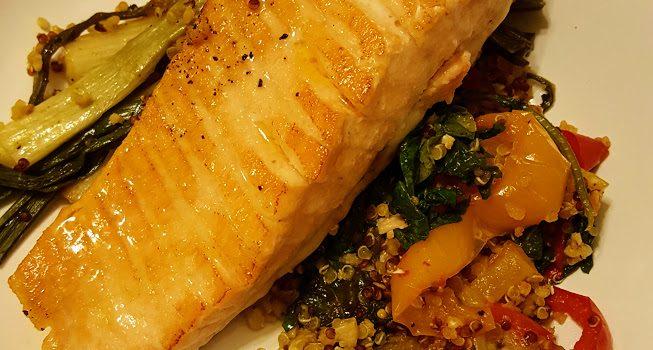 Spicy Orange Salmon with Slow Roasted Veggies